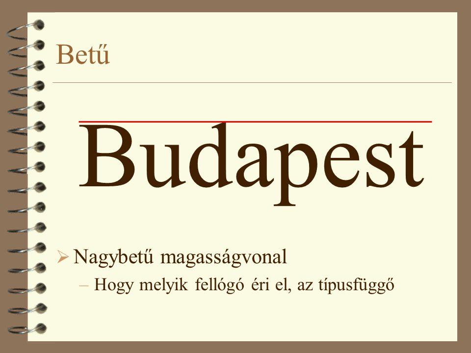 Budapest Betű Nagybetű magasságvonal