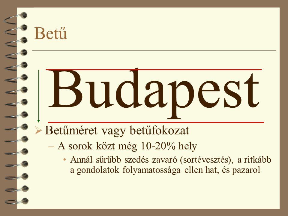 Budapest Betű Betűméret vagy betűfokozat A sorok közt még 10-20% hely