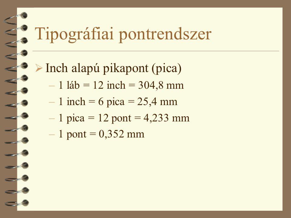 Tipográfiai pontrendszer