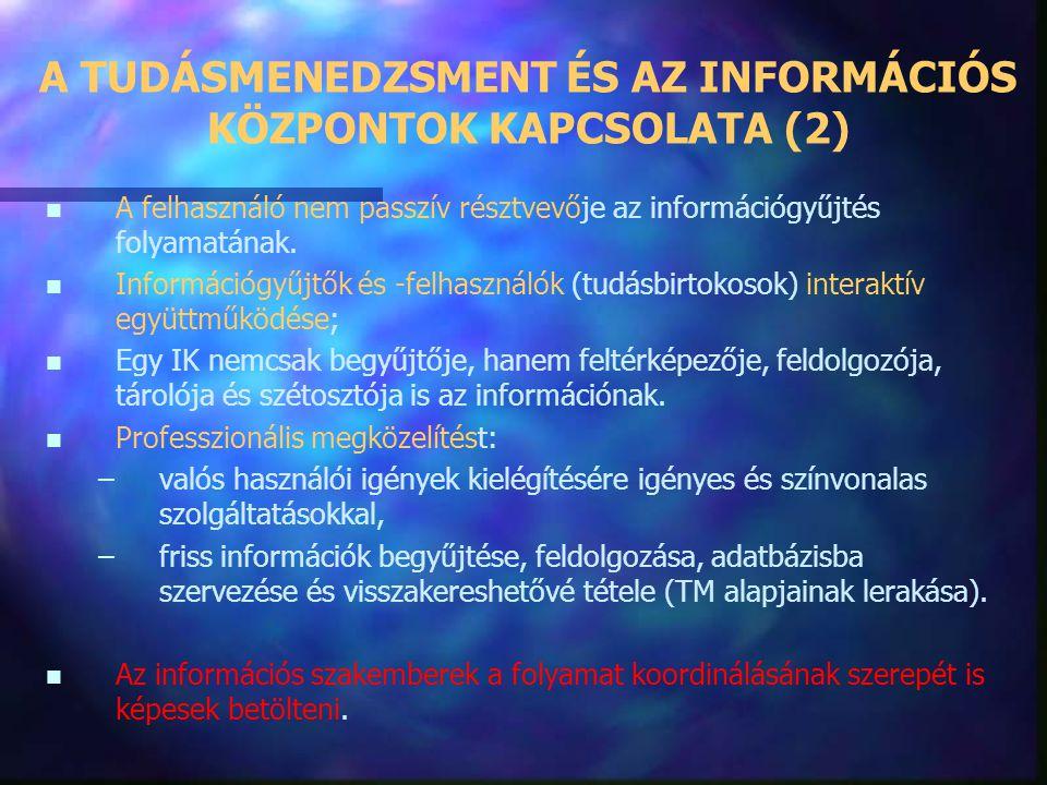 A TUDÁSMENEDZSMENT ÉS AZ INFORMÁCIÓS KÖZPONTOK KAPCSOLATA (2)