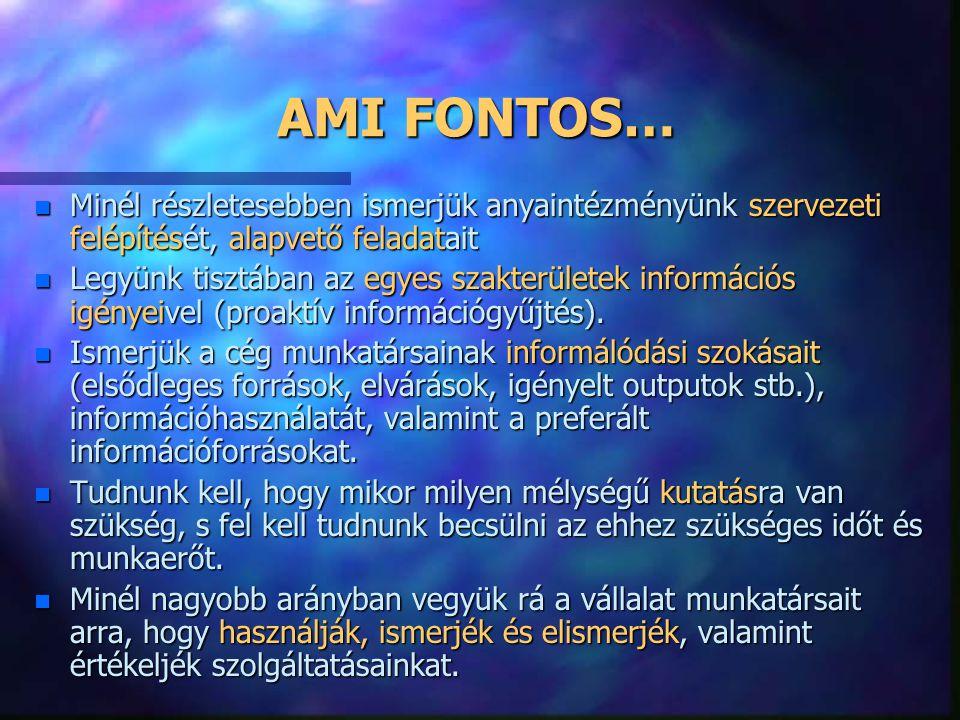 AMI FONTOS… Minél részletesebben ismerjük anyaintézményünk szervezeti felépítését, alapvető feladatait.