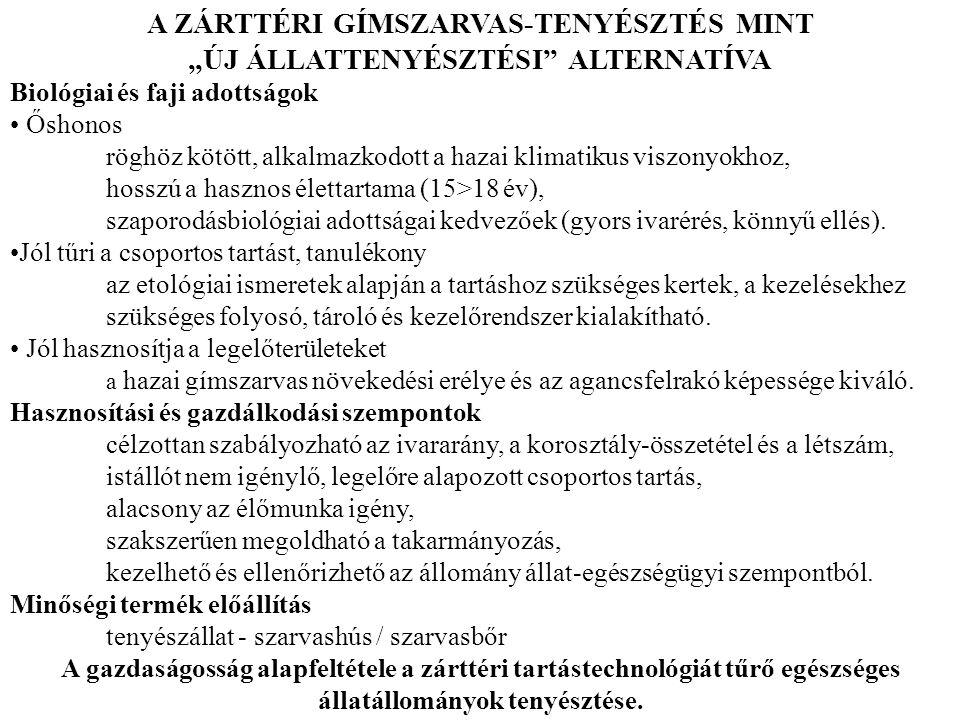A ZÁRTTÉRI GÍMSZARVAS-TENYÉSZTÉS MINT