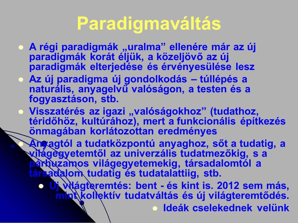 """Paradigmaváltás A régi paradigmák """"uralma ellenére már az új paradigmák korát éljük, a közeljövő az új paradigmák elterjedése és érvényesülése lesz."""