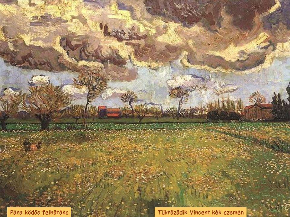 Pára ködös felhőtánc Tükröződik Vincent kék szemén