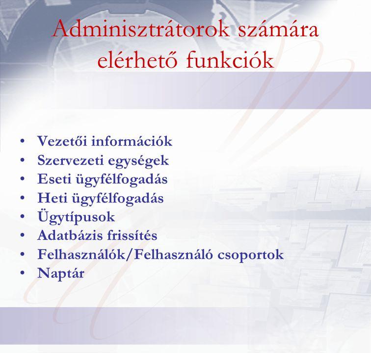 Adminisztrátorok számára elérhető funkciók