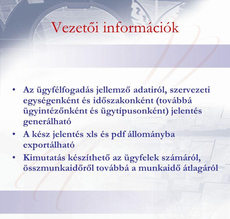 Vezetői információk