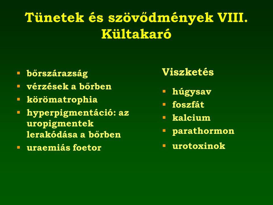 Tünetek és szövődmények VIII. Kültakaró