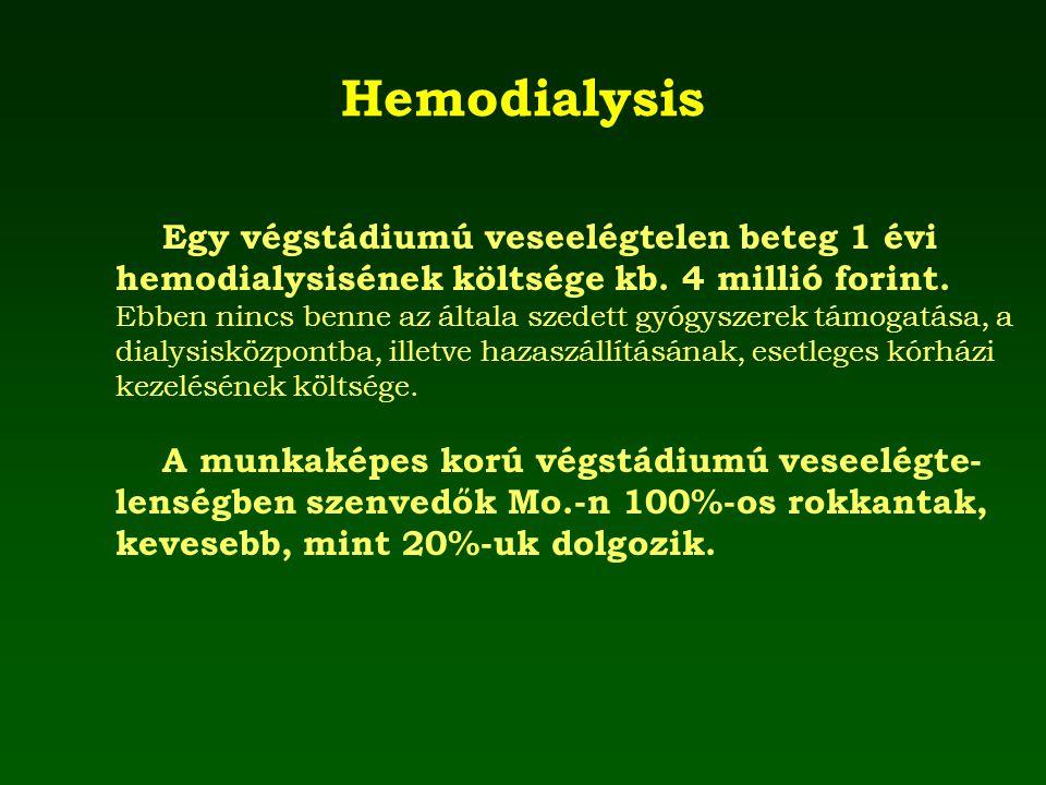Hemodialysis Egy végstádiumú veseelégtelen beteg 1 évi