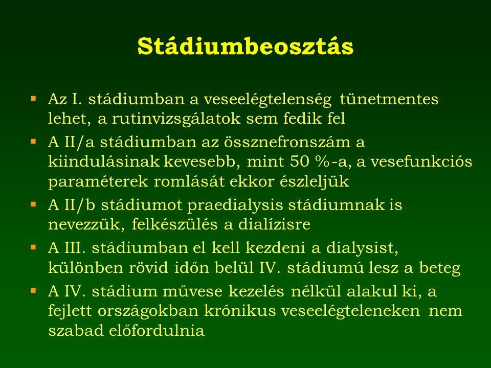 Stádiumbeosztás Az I. stádiumban a veseelégtelenség tünetmentes lehet, a rutinvizsgálatok sem fedik fel.