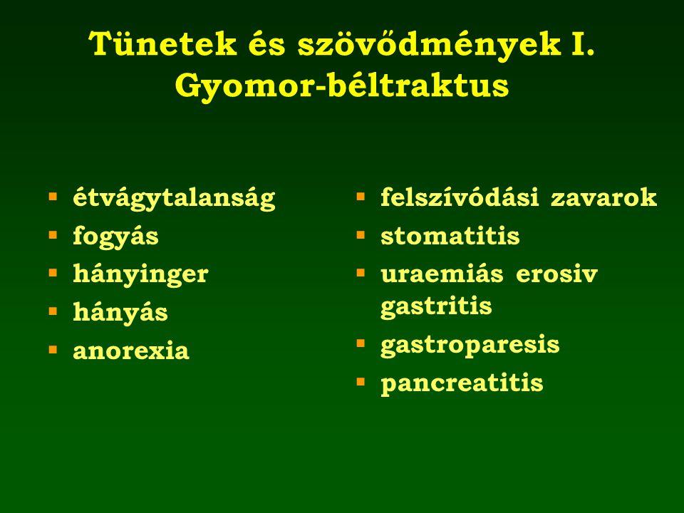 Tünetek és szövődmények I. Gyomor-béltraktus