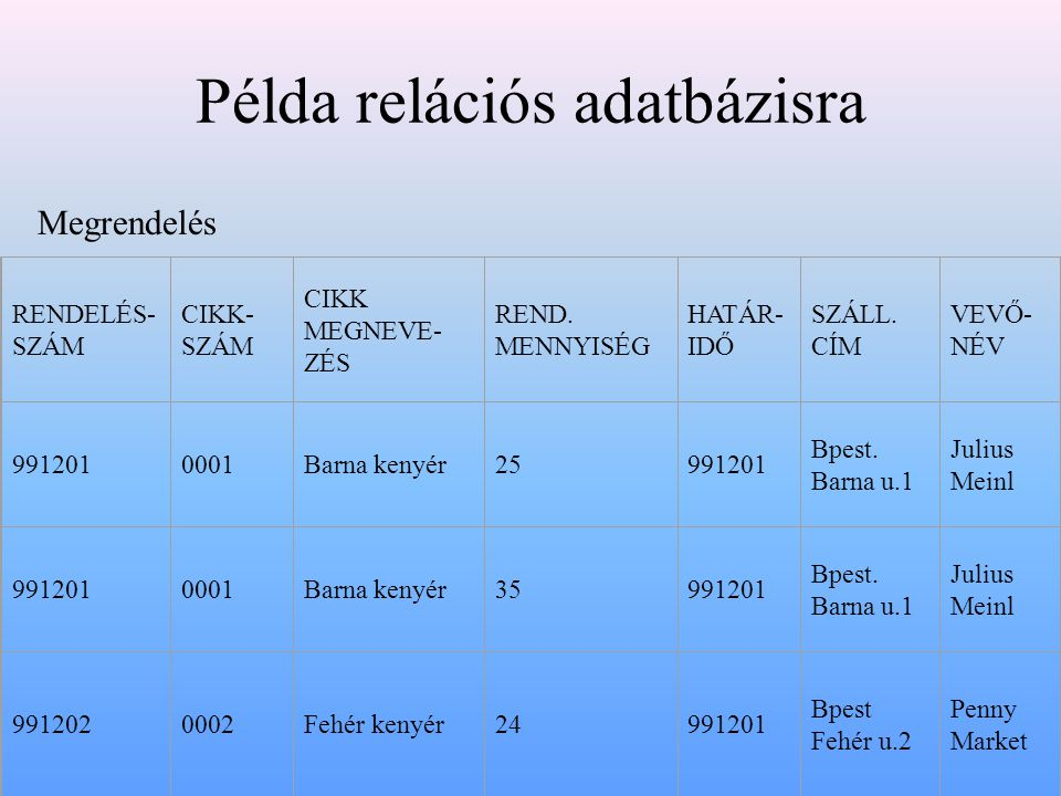 Példa relációs adatbázisra