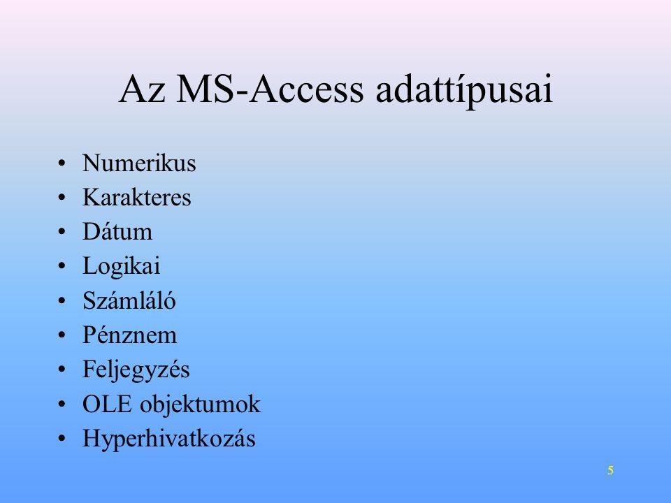 Az MS-Access adattípusai