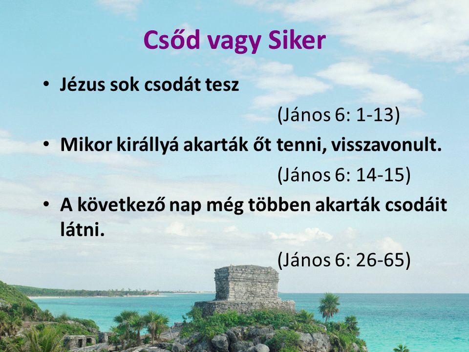 Csőd vagy Siker Jézus sok csodát tesz (János 6: 1-13)