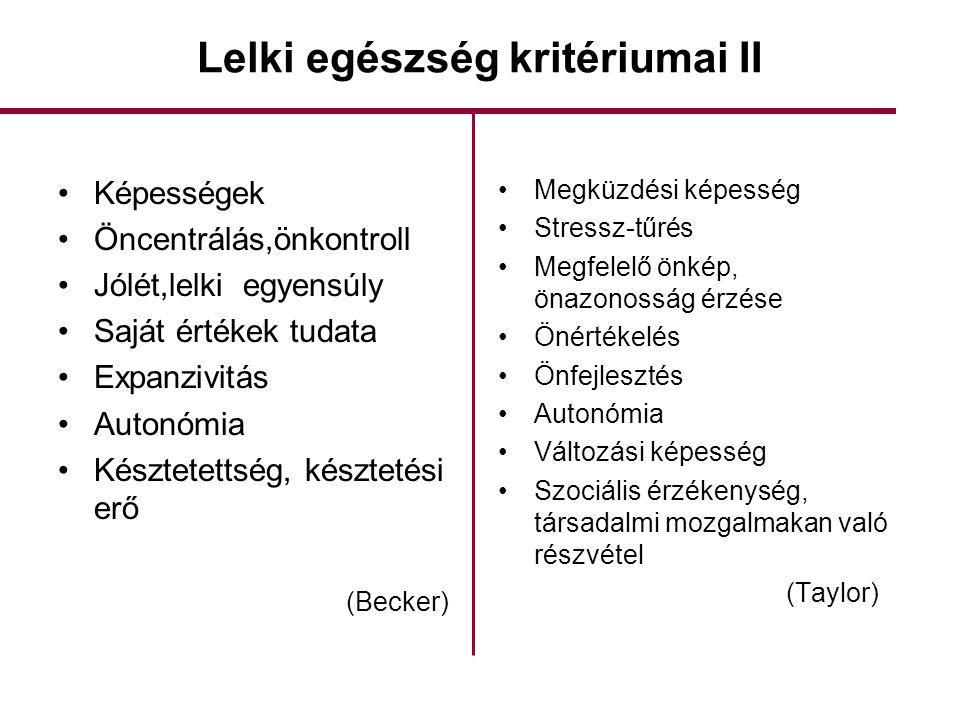 Lelki egészség kritériumai II