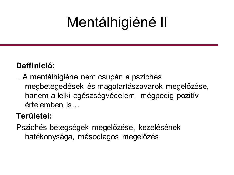 Mentálhigiéné II Deffinició: