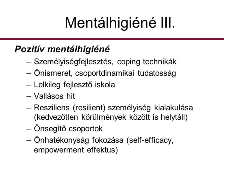 Mentálhigiéné III. Pozitív mentálhigiéné
