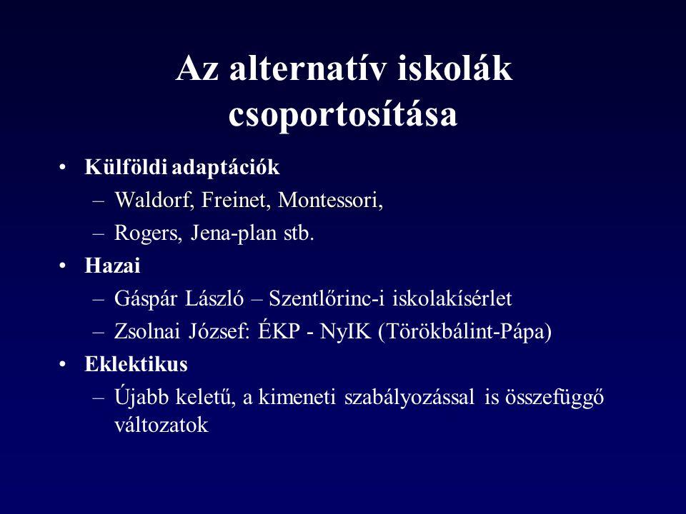 Az alternatív iskolák csoportosítása