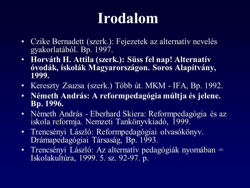 Irodalom Czike Bernadett (szerk.): Fejezetek az alternatív nevelés gyakorlatából. Bp. 1997.