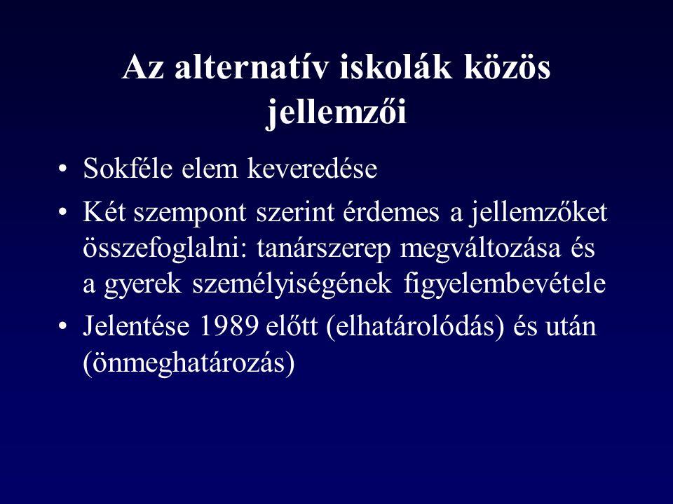 Az alternatív iskolák közös jellemzői