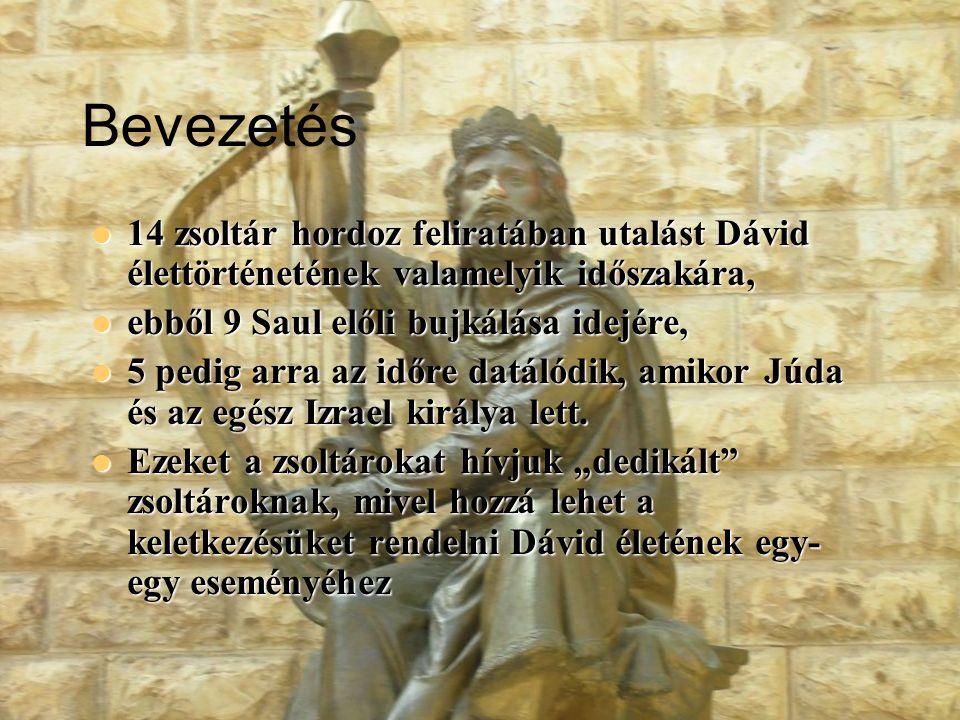 Bevezetés 14 zsoltár hordoz feliratában utalást Dávid élettörténetének valamelyik időszakára, ebből 9 Saul előli bujkálása idejére,