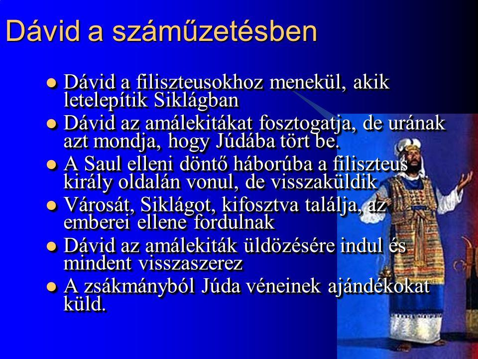 Dávid a száműzetésben Dávid a filiszteusokhoz menekül, akik letelepítik Siklágban.