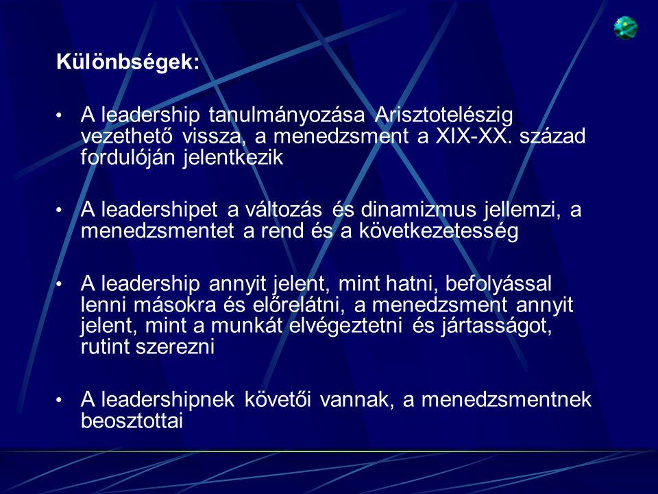 Különbségek: A leadership tanulmányozása Arisztotelészig vezethető vissza, a menedzsment a XIX-XX. század fordulóján jelentkezik.