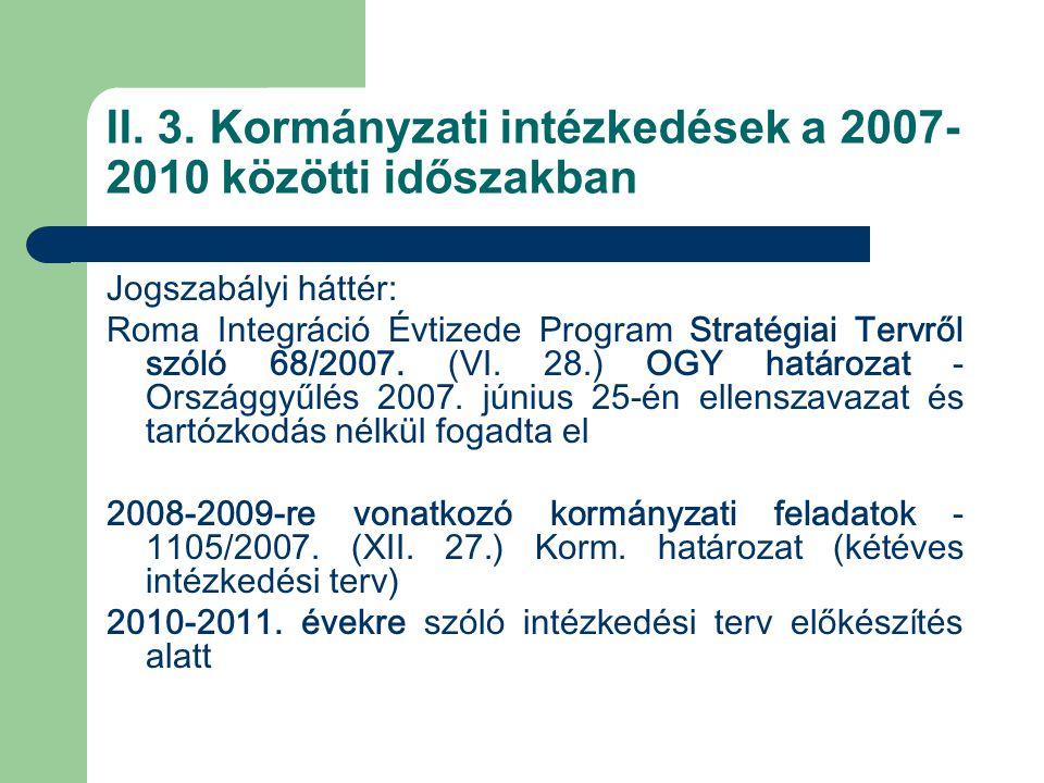 II. 3. Kormányzati intézkedések a 2007-2010 közötti időszakban