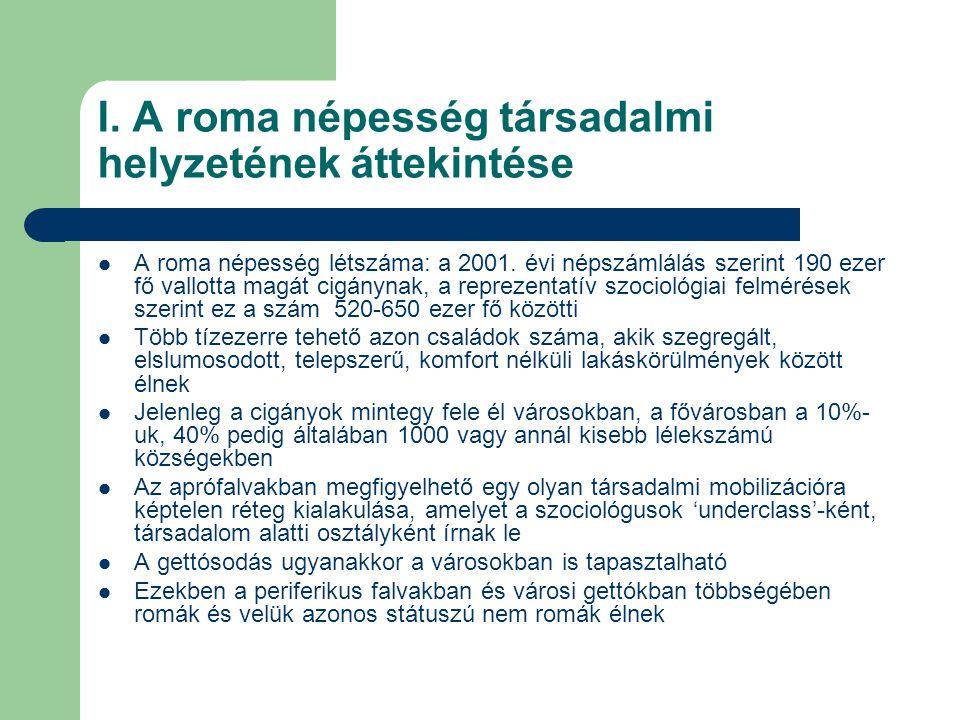 I. A roma népesség társadalmi helyzetének áttekintése