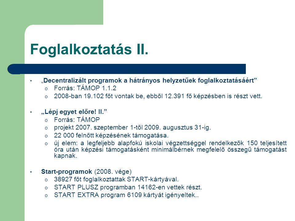 """Foglalkoztatás II. """"Decentralizált programok a hátrányos helyzetűek foglalkoztatásáért Forrás: TÁMOP 1.1.2."""
