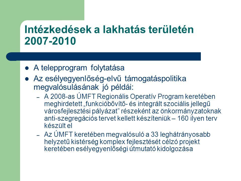 Intézkedések a lakhatás területén 2007-2010