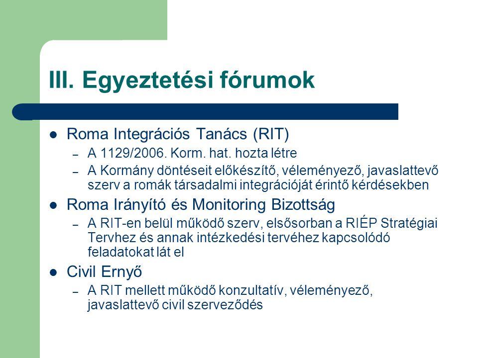 III. Egyeztetési fórumok