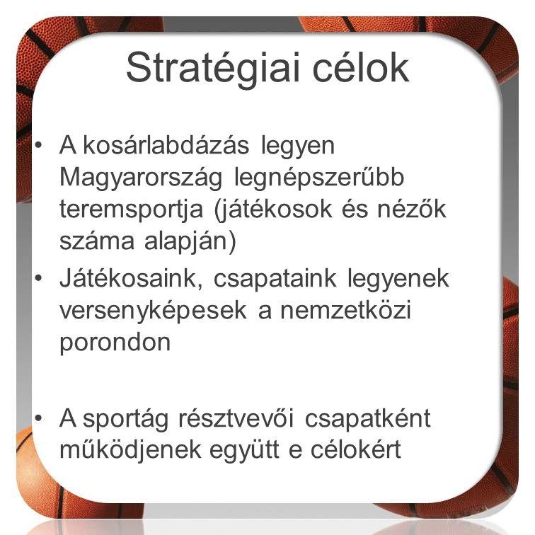 Stratégiai célok A kosárlabdázás legyen Magyarország legnépszerűbb teremsportja (játékosok és nézők száma alapján)