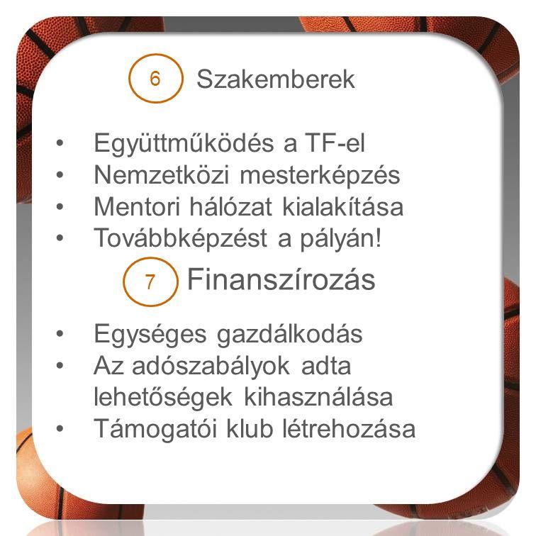 Finanszírozás Szakemberek Együttműködés a TF-el