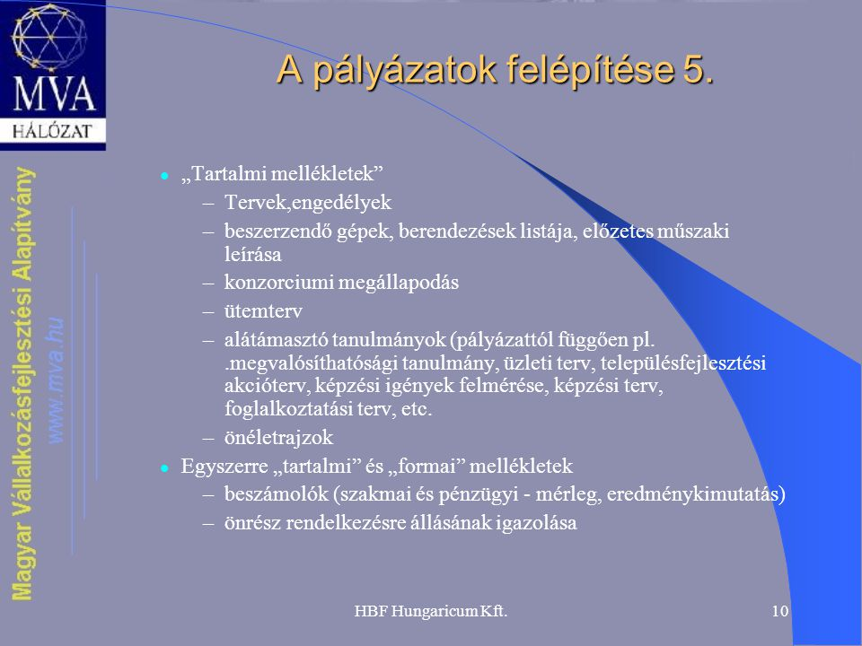 A pályázatok felépítése 5.