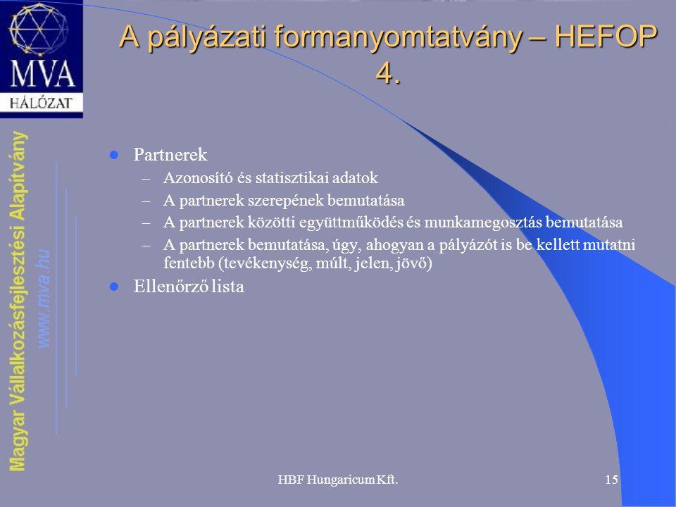 A pályázati formanyomtatvány – HEFOP 4.