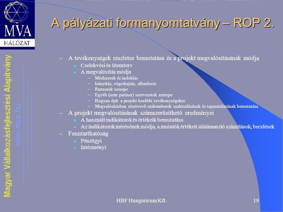 A pályázati formanyomtatvány – ROP 2.