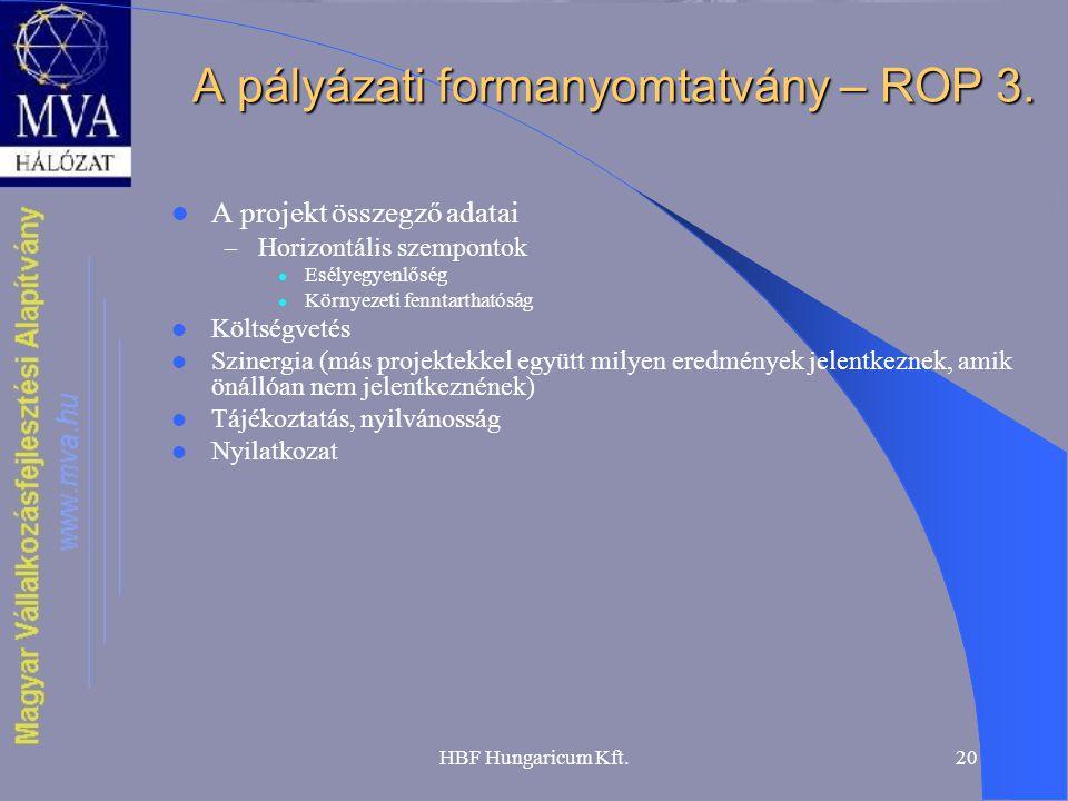 A pályázati formanyomtatvány – ROP 3.