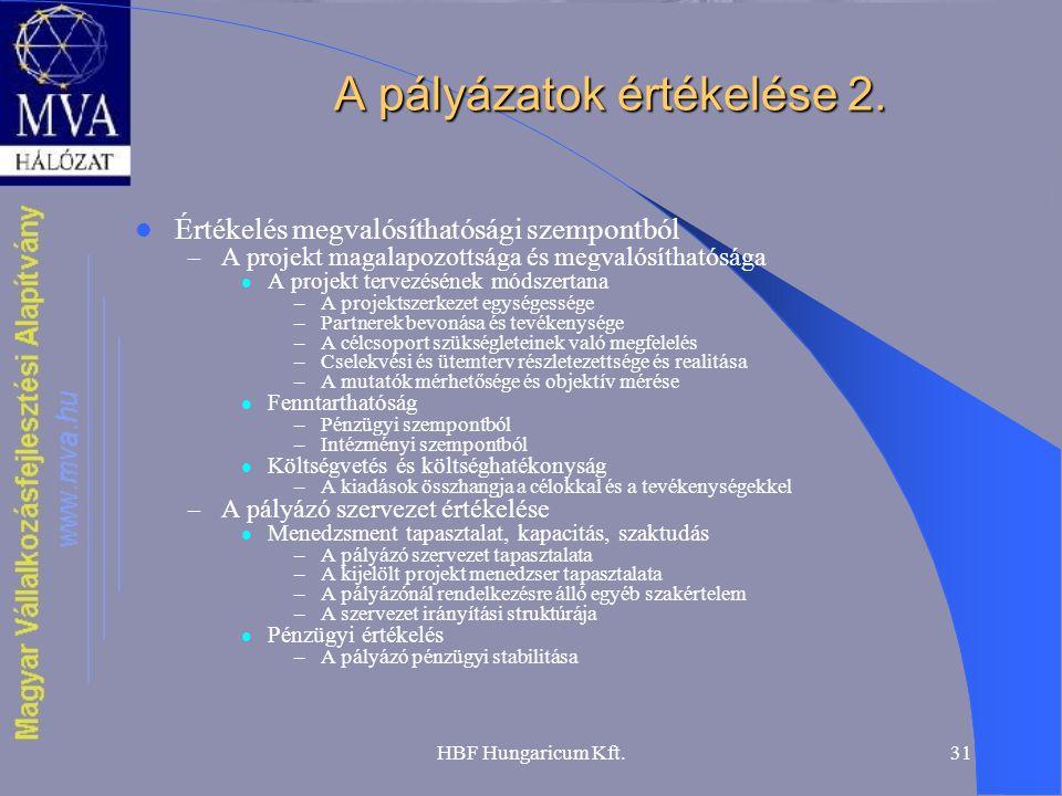 A pályázatok értékelése 2.