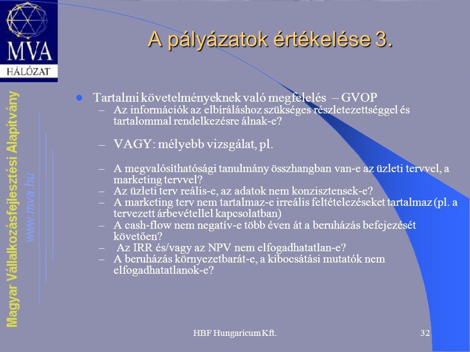 A pályázatok értékelése 3.