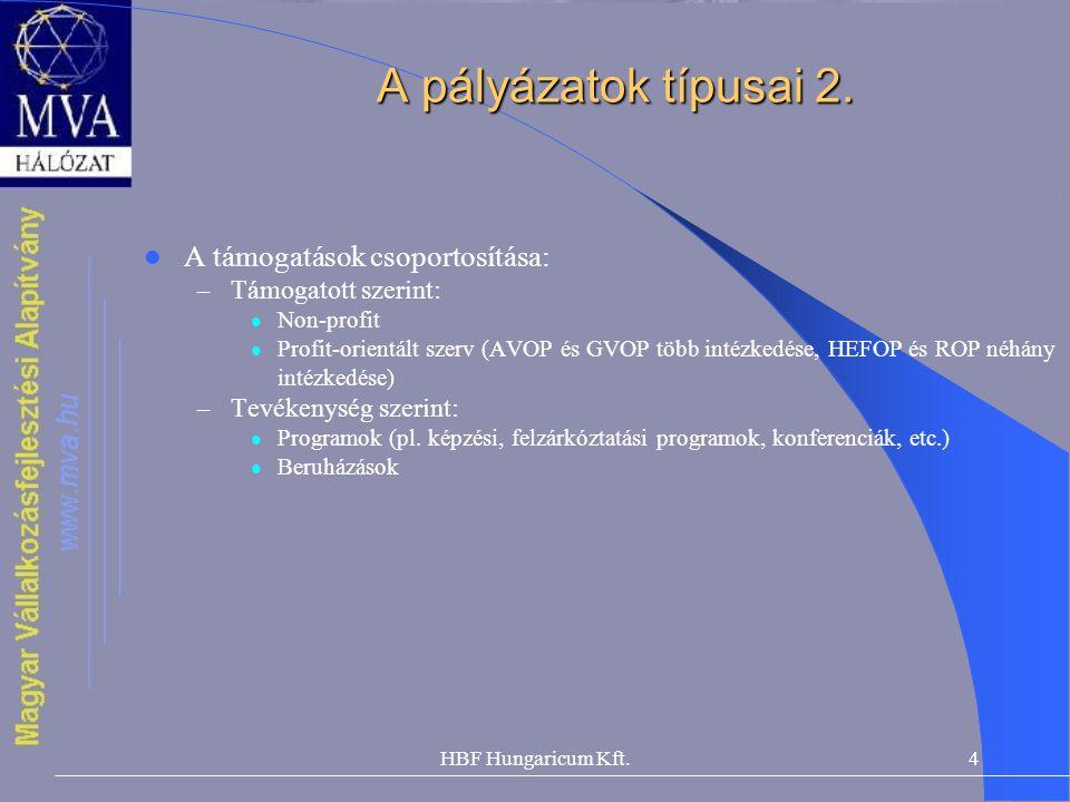 A pályázatok típusai 2. A támogatások csoportosítása: