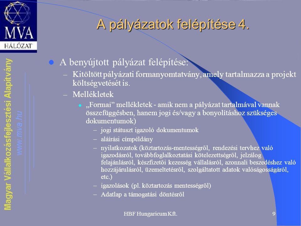 A pályázatok felépítése 4.