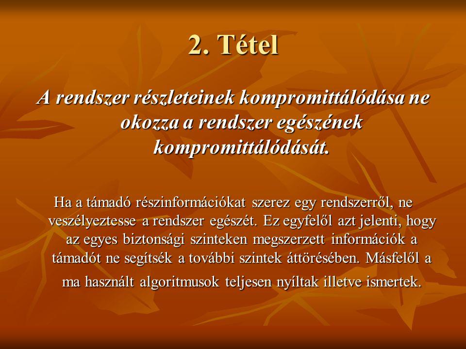 2. Tétel A rendszer részleteinek kompromittálódása ne okozza a rendszer egészének kompromittálódását.