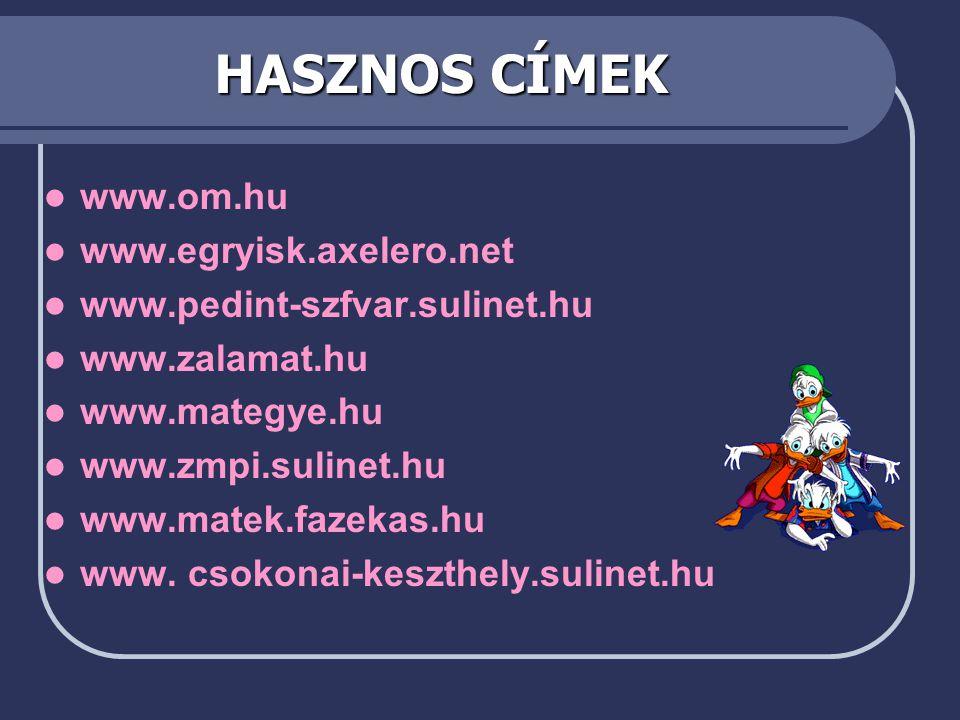 HASZNOS CÍMEK www.om.hu www.egryisk.axelero.net