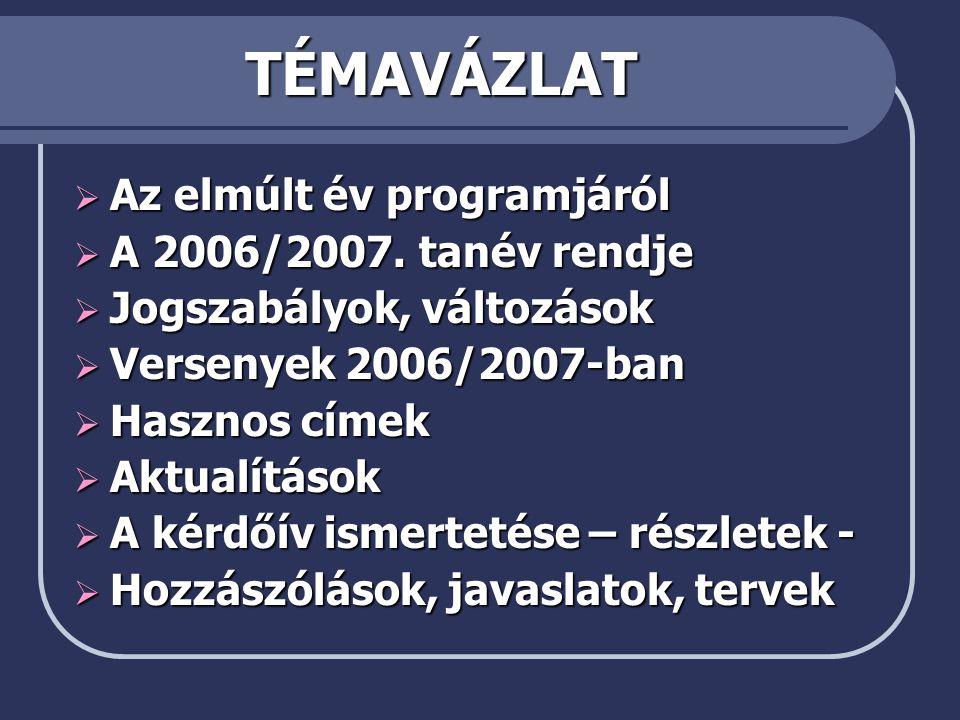 TÉMAVÁZLAT Az elmúlt év programjáról A 2006/2007. tanév rendje