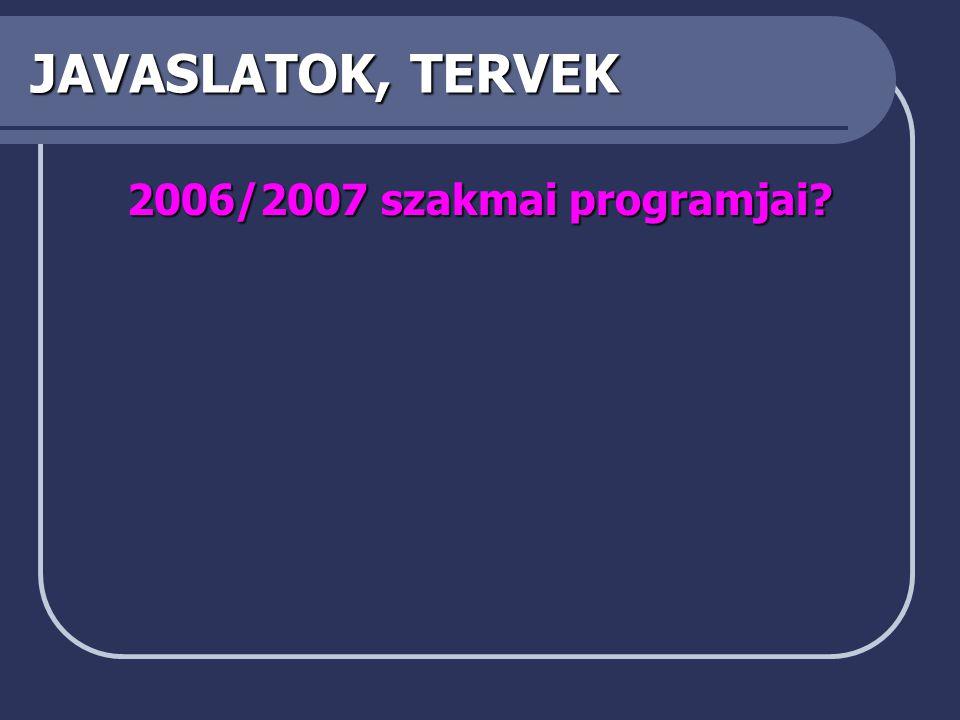 JAVASLATOK, TERVEK 2006/2007 szakmai programjai