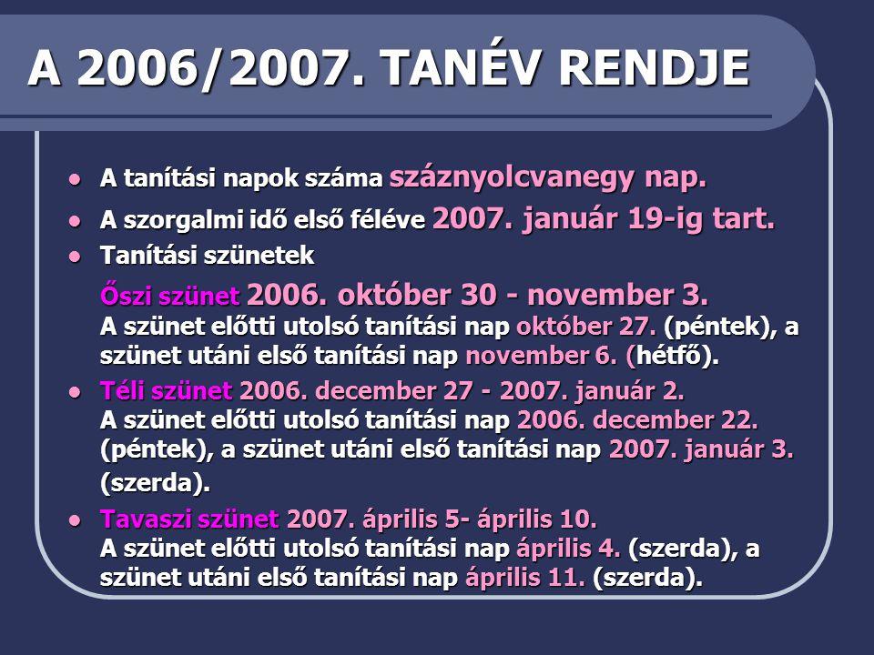 A 2006/2007. TANÉV RENDJE A tanítási napok száma száznyolcvanegy nap. A szorgalmi idő első féléve 2007. január 19-ig tart.