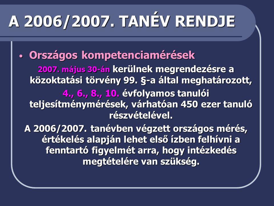 A 2006/2007. TANÉV RENDJE Országos kompetenciamérések
