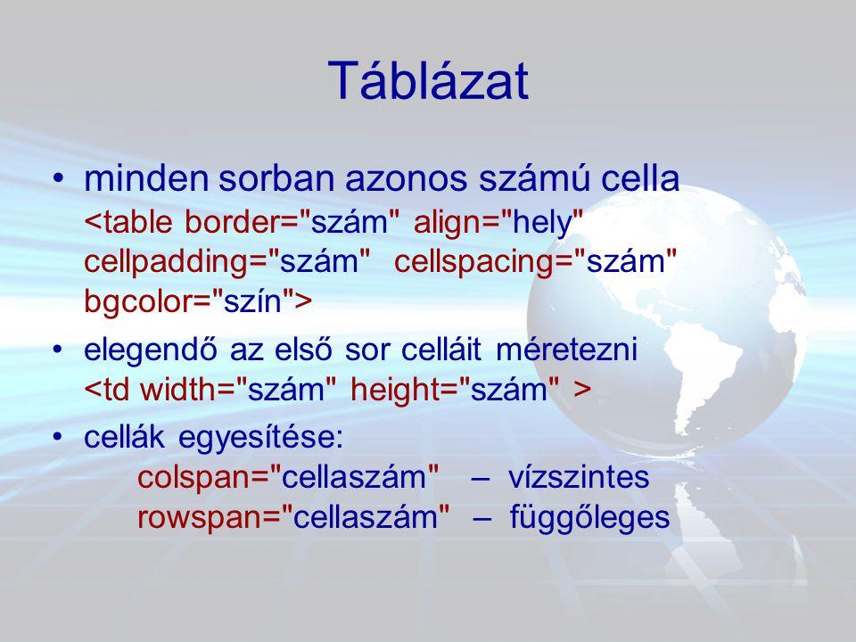 Táblázat minden sorban azonos számú cella <table border= szám align= hely cellpadding= szám cellspacing= szám bgcolor= szín >