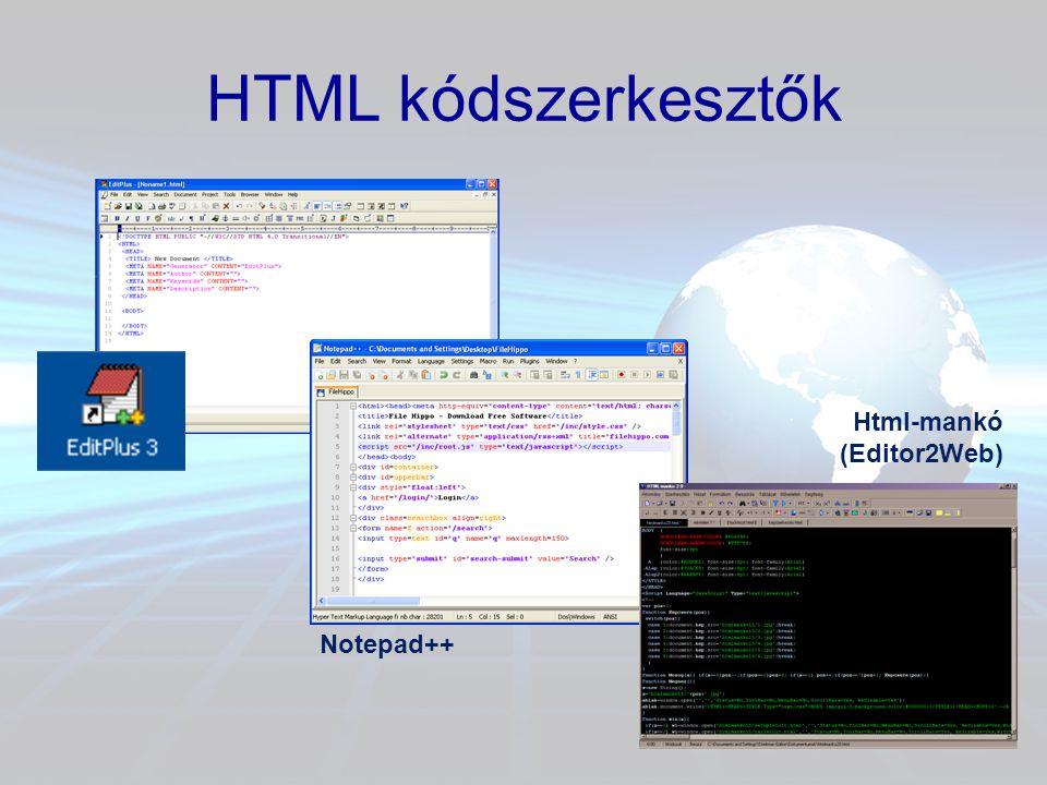 HTML kódszerkesztők Html-mankó (Editor2Web) Notepad++