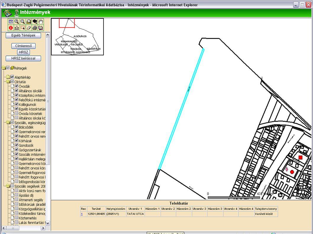 A keresés eredménye A címkeresőhöz hasonlóan a keresett helyrajzi számhoz tartozó térképi objektum kijelölésre kerül.